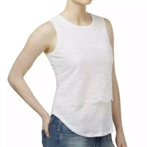 Maison Jules Lace Front Layered Casual Top